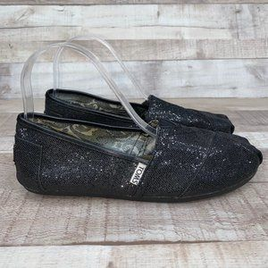 Toms Classic Alpargata Black Glitter Shoes US 7